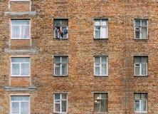 Ściana mieszkaniowy kondygnacja budynek z okno tłem Zdjęcie Stock
