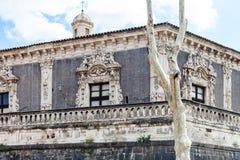 Ściana Palazzo Biscari w Catania mieście i pałac zdjęcia royalty free