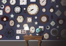 Ściana Pełno Clack czasu sztuka - wektor Fotografia Royalty Free