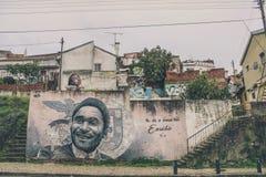Ściana portret Eusébio w Lisbon zdjęcie stock