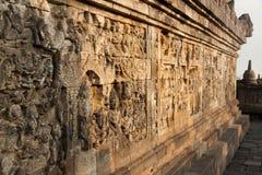 Ściana przy Borobudur świątynią w Yogyakarta, Jawa, Indonezja Zdjęcia Stock