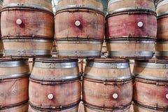 Ściana Puste wino baryłki Zdjęcie Stock