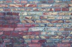 Ściana stara, uszkadzająca czerwona cegła, Narysy i pęknięcia Tekstury antykwarska retro cegła i tło fotografia stock