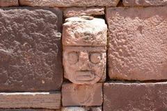 Ściana w Kalasasaya świątyni Tiwanaku archeologiczny miejsce Boliwia Fotografia Royalty Free
