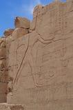 Ściana z Antycznymi hieroglifami Egipt, Karnak świątynia Obrazy Stock