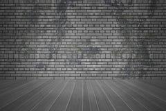 Ściana z cegieł i tekstury ciemna podłoga z kopii przestrzenią, stary grunge pokoju tło ilustracja wektor