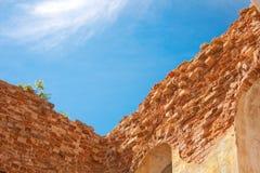 Ściana z cegieł na niebieskim niebie Zdjęcie Stock