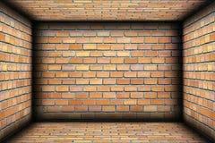 Ściana z cegieł na wewnętrznym architektonicznym tle obraz stock