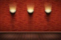Ściana z cegieł pokój z rocznika sconce lampami royalty ilustracja