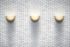 Ściana z cegieł pokój z rocznika sconce lampami ilustracji