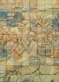 Ściana z cegieł rzeźbiący wzór w Tajlandia Zdjęcie Royalty Free