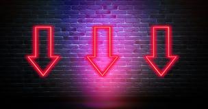 Ściana z cegieł, tło, neonowy światło, strzałkowaty symbol, kierunku przejaw ilustracji