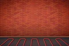 Ściana z cegieł z wodnego ogrzewania podłoga Fotografia Royalty Free