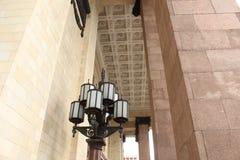 Ściany, kolumny i stropować główne wejście budynek Moskwa stanu uniwersytet, Zdjęcie Stock