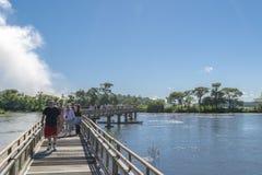Ścieżka Czarci gardło Spada przy Iguazu parkiem Zdjęcia Royalty Free