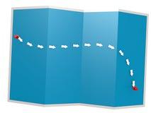 Ścieżka na błękitnej mapie royalty ilustracja