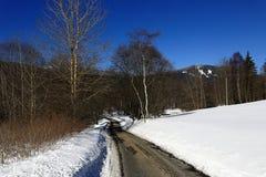 Ścieżka na Pancir, zima krajobraz, Zelezna Ruda, republika czech Obraz Stock