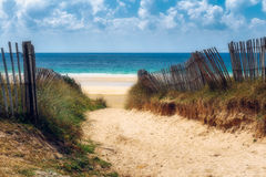 Ścieżka plaża, Quiberon krajobraz, Bretagne, Fr (Brittany) obraz royalty free