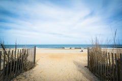 Ścieżka plaża w Rehoboth plaży, Delaware zdjęcia stock
