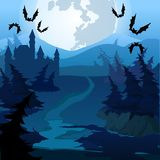 Ścieżka przez zaczarowanego lasu przy nocą Wektorowa kreskówki zakończenia ilustracja ilustracja wektor