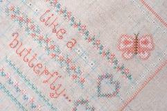Ścieg broderia na pościeli Sampler z kwiecistymi wzorami Fotografia Stock