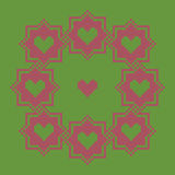 Ściegu wianku wzór z sercami Różowa rama na zielonym tle Fotografia Stock