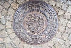 Ściekowy manhole w WrocÅ 'aw Fotografia Stock