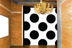 Ścienna cegła, czarny i biały okręgu drzwi kreatywnie dla projekta obraz stock
