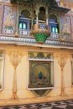 Ścienna dekoracja pawia kwadrat, miasto pałac kompleks, Udaipur, obrazy stock