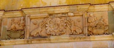 Ścienna dekoracja przy Cuilapam covent, Meksyk fotografia royalty free