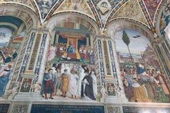 Ścienni frescoes w biblioteca Piccolomini Siena katedra Duomo, Siena, Tuscany, Włochy obraz royalty free