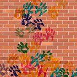 Ścienny Handprints Reprezentuje Malującego cement I budowę Zdjęcie Royalty Free