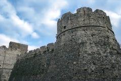 Ścienny historyczny centrum Agropoli wioska, Włochy Zdjęcie Royalty Free
