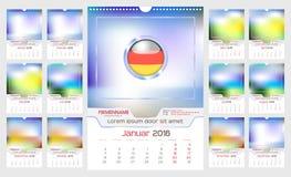 Ścienny miesięcznika kalendarz Obrazy Stock
