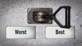 Ścienny Przełącznikowy Najlepszy versus Zły zdjęcie stock