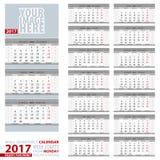 Ścienny quarterly kalendarza 2017, Angielski i Rosyjski, język tydzień royalty ilustracja