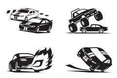 Ściga się samochodów przedstawienie ilustracja wektor