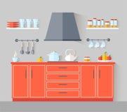 Ścisła mała kuchnia w czerwieni Wektorowy sztandar z kuchennym wn?trzem royalty ilustracja