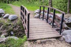 Ślad prowadzi mały drewniany most nad zatoczka brzeg jest Lin Fotografia Royalty Free