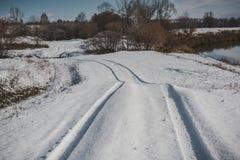 Ślada na pierwszy śniegu obrazy royalty free