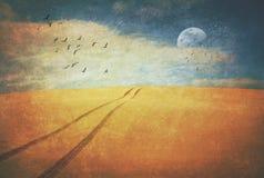 Ślada nad pustynnym horyzontem zdjęcie royalty free