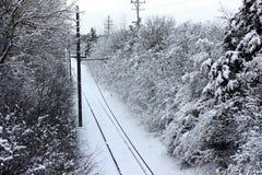 śladu zakrywający śnieżny tramwaj Obraz Royalty Free