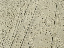 ślady na plażę Zdjęcie Stock