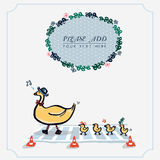 Śliczna Żółta kaczka z rzędu Ulistnienie wianek Odosobniony Ilustracyjny wektor Fotografia Stock