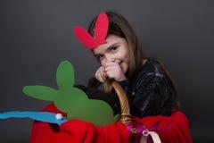 Śliczna śmieszna dziewczyna z królików ucho obrazy royalty free
