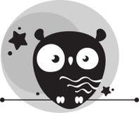 Śliczna śmieszna sowa w tle szara księżyc ilustracji