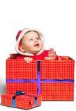 Śliczna Święty Mikołaj chłopiec odizolowywająca na bielu Zdjęcie Stock