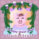 Śliczna świnia w śnieżystym okno royalty ilustracja