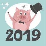 Śliczna świnia wita nowego roku ilustracji