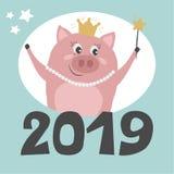 Śliczna świnia wita nowego roku royalty ilustracja